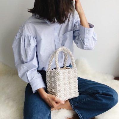 Antonia Cream and Clear Bag