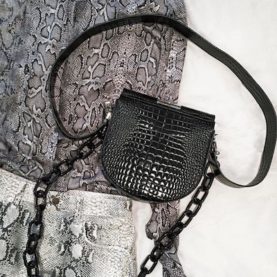 Demi Lune Croc-effect Leather Shoulder Bag