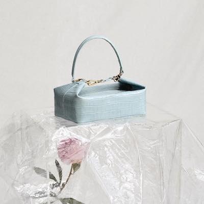 Blue Olivia Crocodile Embossed Leather Box Bag