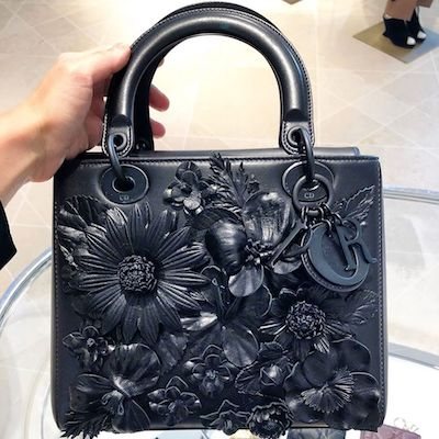 Lady Dior with Black Embroidered Flower