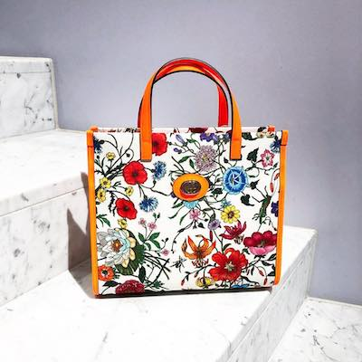 Medium Orange Flora Tote Bag