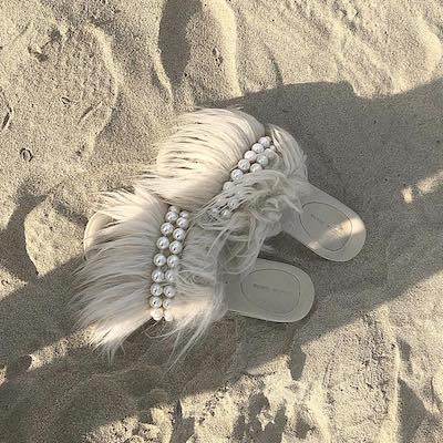 Faux Pearl-embellished Faux-shearling Slides