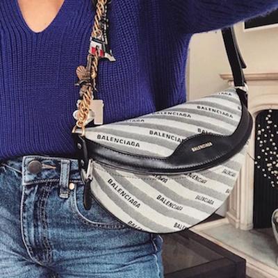 Embellished Leather and Canvas Shoulder Bag
