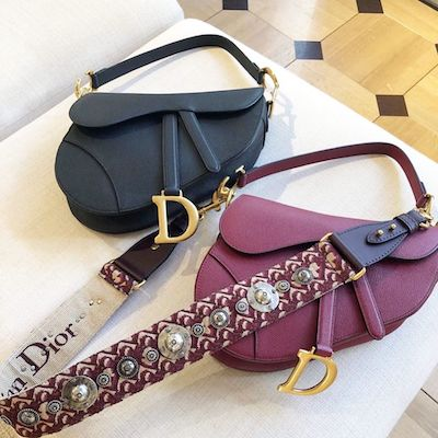 Maroon Dior Saddle Bag