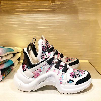 c9d5cbdd794 LOUIS VUITTON Pink Flower LV Archlight Sneaker | Kravelist.com