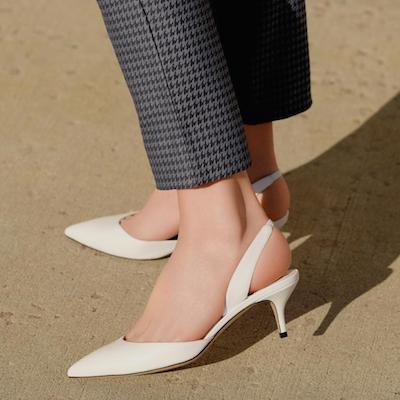 White Slingback Kitten heels