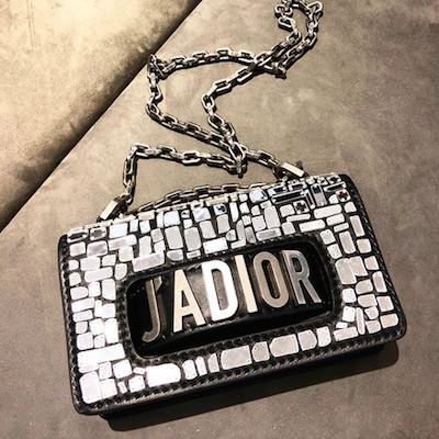Mini J'adior Flap Bag with a Mosaic of Mirrors