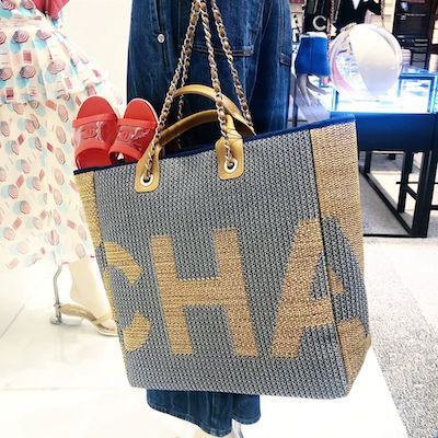 Grey Large Shopping Bag Mixed Fibers