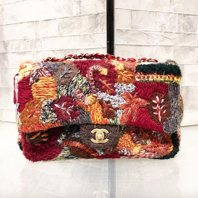 Embroidered Wool Flap Bag