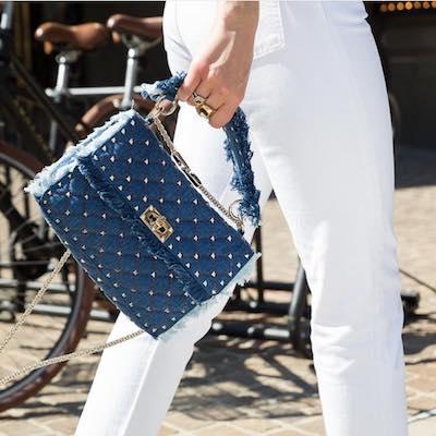 Blue Denim Rockstud Spike Chain Bag
