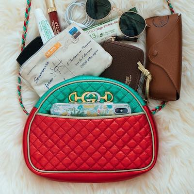 Red and Green Laminated Leather Mini Bag