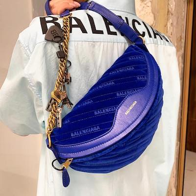 Blue Souvenir Velvet Belt Bag