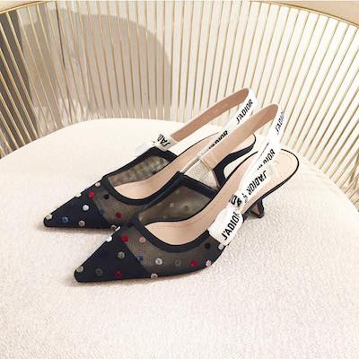 J'adior Tulle Slingback Embroidered  with Mini Velvet Polka Dots