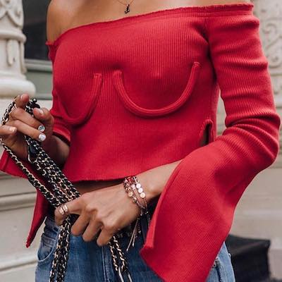 Cropped Off-The-Shoulder Ribbed-Knit Sweater