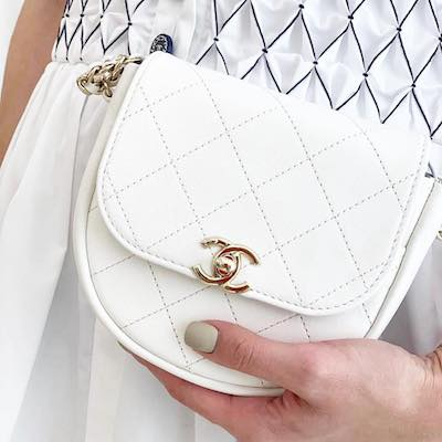 White Lamb & Gold Metal Messenger Bag