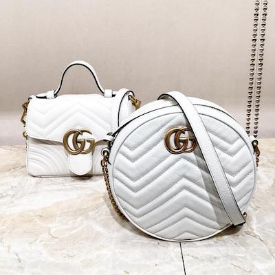 White GG Marmont Mini Round Shoulder Bag