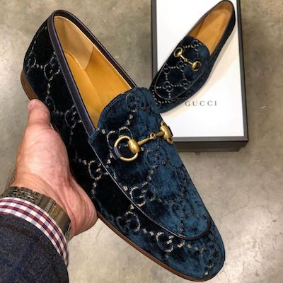 Blue Beige GG Velvet Horsebit Loafer