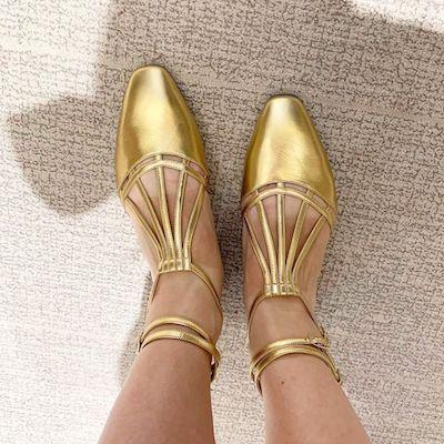 Gold Laminated Sandals
