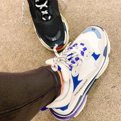 White and Blue Triple S Leather Sneakers
