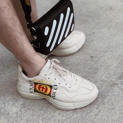 Rhyton Gucci Logo Leather Sneaker