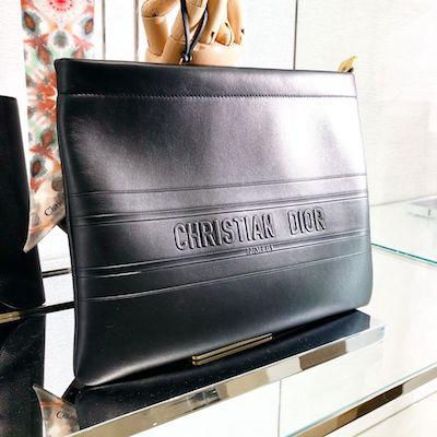 Christian Dior Stripe Calfskin Clutch