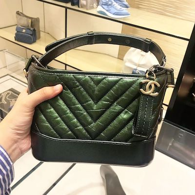Metal Green Chanel Gabrielle Small Hobo Bag Aged