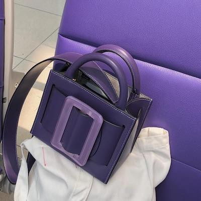 Purple Karl 19 Leather Top Handle Bag