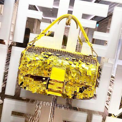 Yellow Sequin Mini Baguette Bag