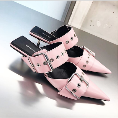 Baby Pink Belt Mules