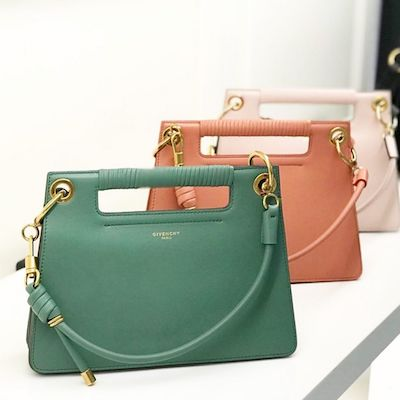 Green Medium Whip Bag in Smooth Leather