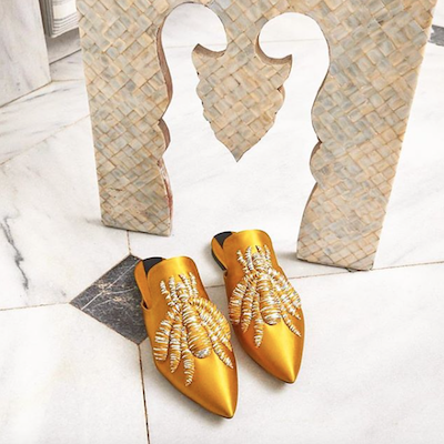 Yellow Embroidered Mules