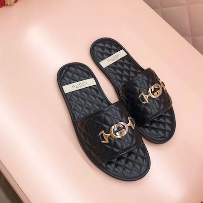 Black Slide Sandal with Interlocking G Horsebit
