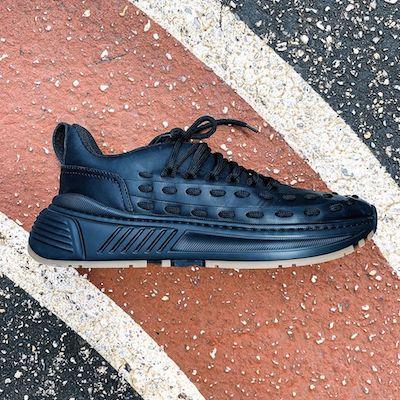 Lace Speedster Sneaker in Storm Cuir