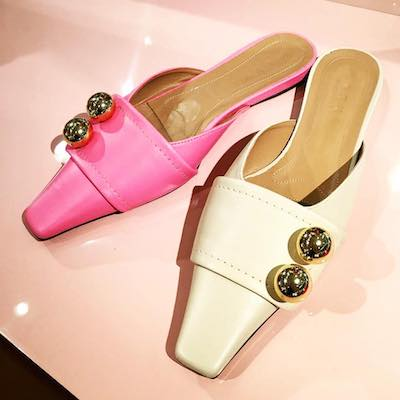 Pink Sphere Embellished Mules