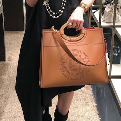 Brown Leather Runaway Shopper