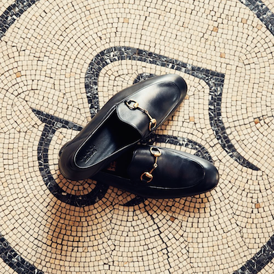 Black Horsebit Leather Loafers