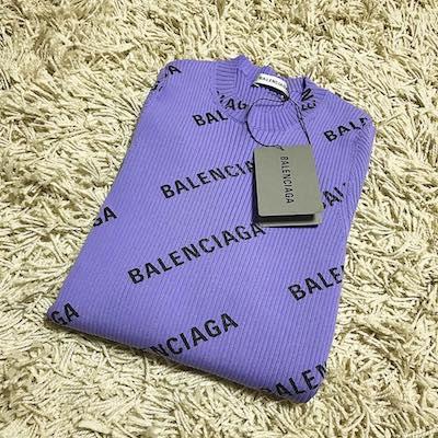 Purple Logo Print Wool Jumper