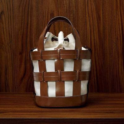 Brown and White Cooper Leather Cage Tote Bag