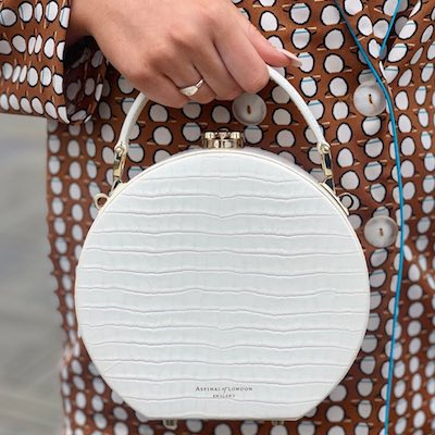 White Small Croc Hat Box Handbag