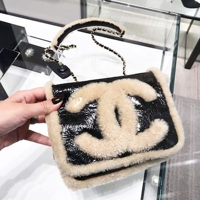 Black Shiny and Beige Wool Sheep Flap Bag