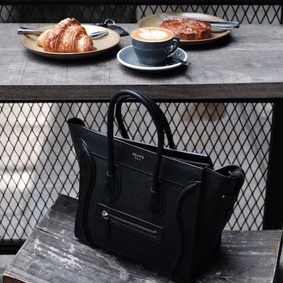 Black Grained Luggage Tote