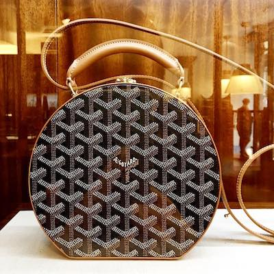 Goyard Alto Hat Box in Brown Black