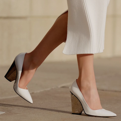 White Sculpted Heel Pumps