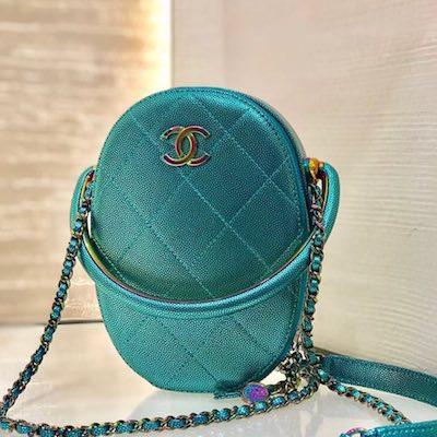Blue Grained Metallic  & Rainbow Metal Camera Bag