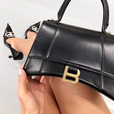 Black Hourglass Small Top Handle Bag