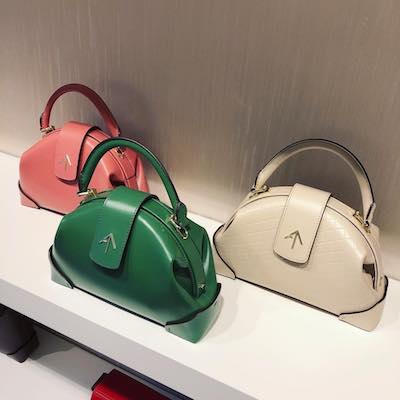 Pink Demi Top Handle Leather Shoulder Bag