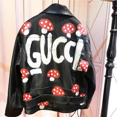 Leather Jacket with Gucci Mushrooms