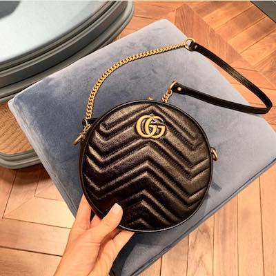 23cb06357 GUCCI Black GG Marmont Mini Round Shoulder Bag | Kravelist.com