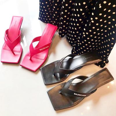 Shocking Pink Metal Sandal