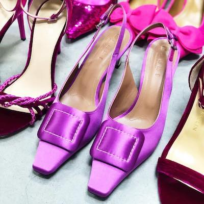 Pink Buckle Slingback 60 Satin Pumps
